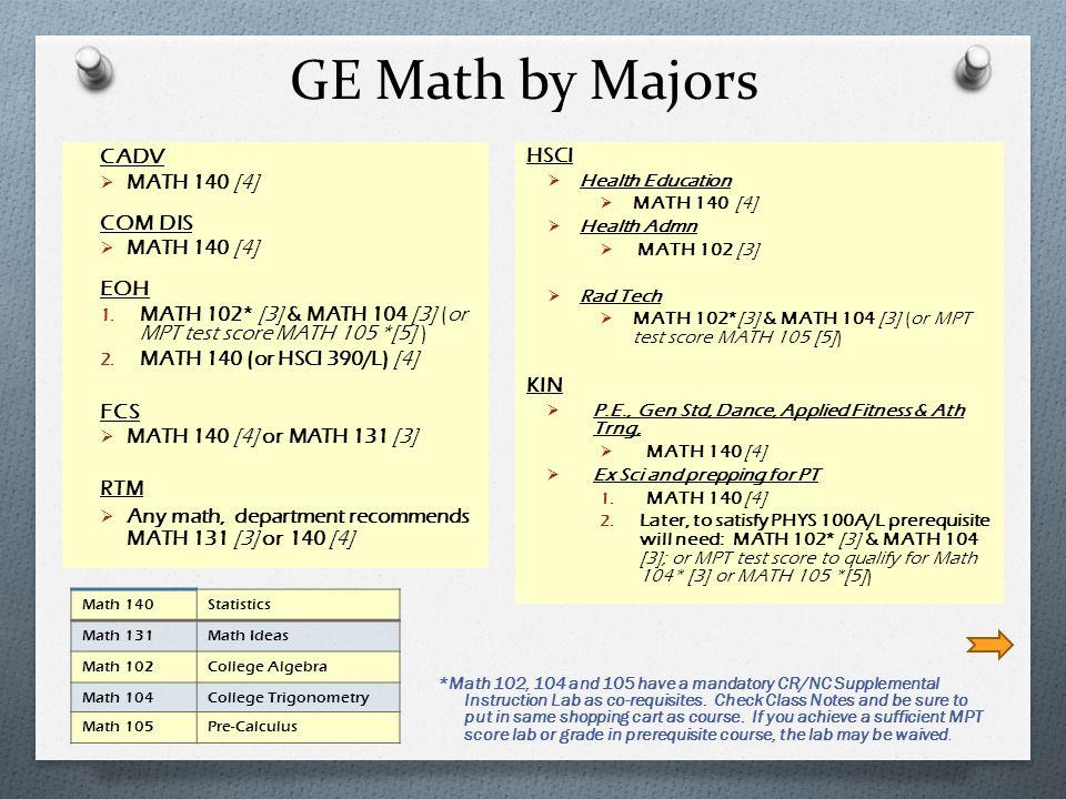 GE Math by Majors CADV COM DIS EOH FCS HSCI MATH 140 [4]